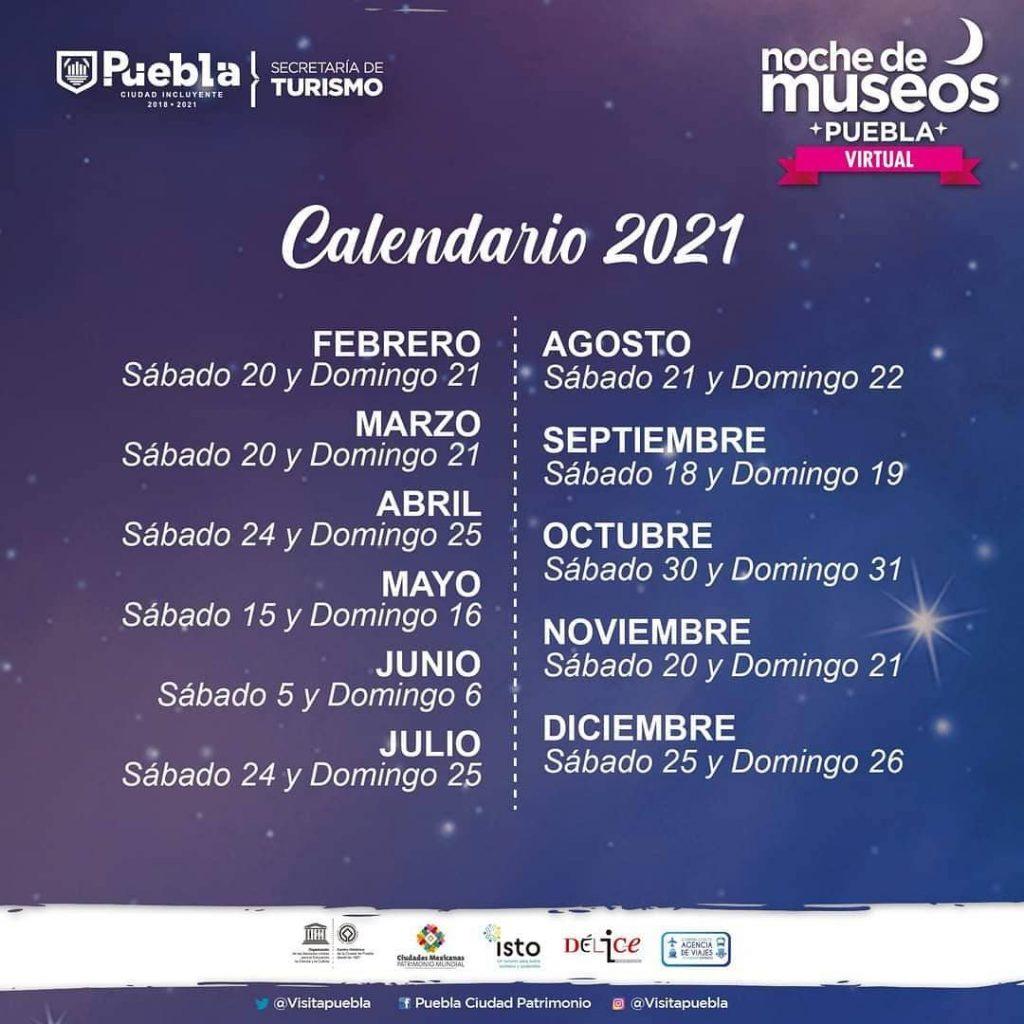 Calendario de Noche de Museos 2021. Febrero-Diciembre